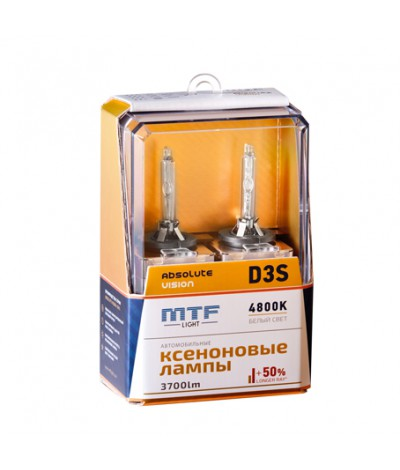 Ксеноновые лампы MTF Light D3S Absolute Vision 4800K +50%