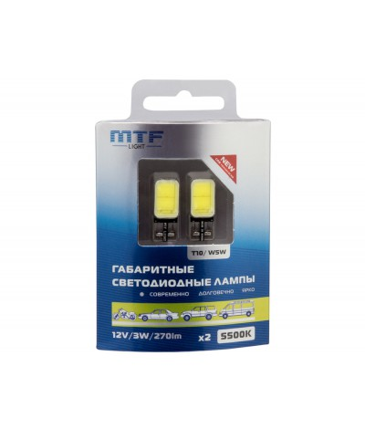 Светодиодная автолампа MTF Light W5W T10.12V,3W, 5500K, 270 люмен, COB LED