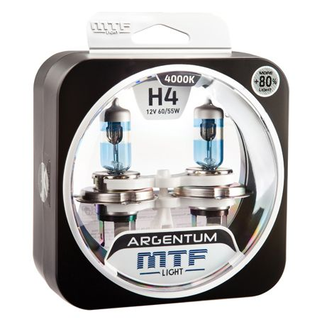 Лампа галогенная H4 Argentum +80% MTF Light