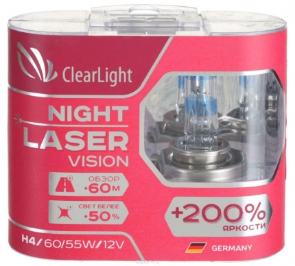 H4 (Clearlight)12 V-60/55W Night Laser Vision+200%