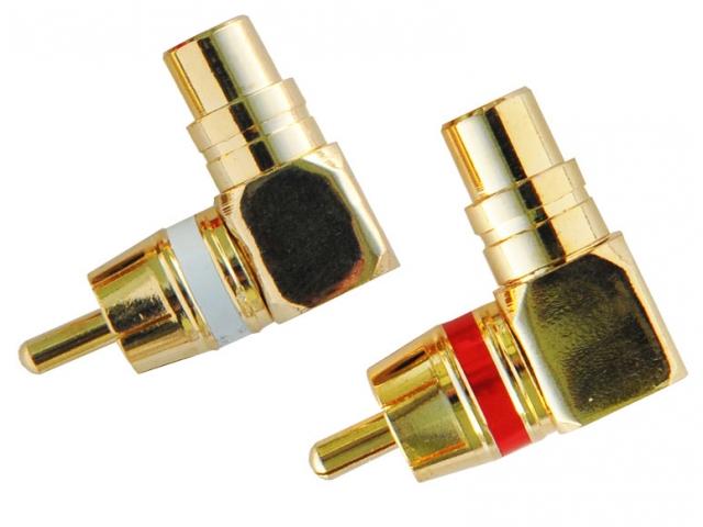 INCAR RCA-04 разъем RCA угловой, цвет-золото, (1 крас. +1 бел.)